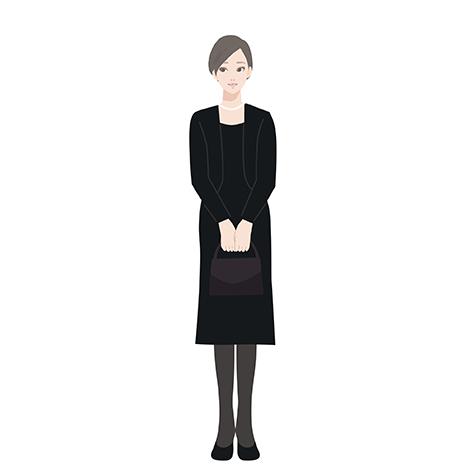 喪服姿の女性のイラスト